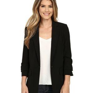 Michael Kors Ruched 3/4 Sleeves Black Blazer Jacket boyfriend